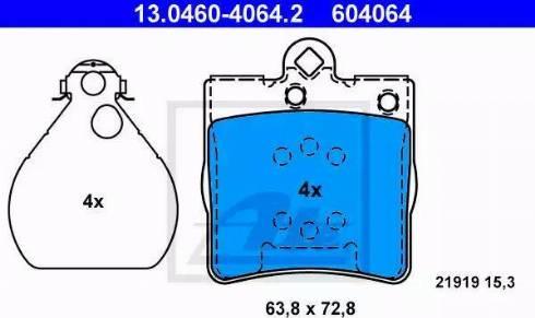 ATE 13.0460-4064.2 - Piduriklotsi komplekt,ketaspidur multiparts.ee