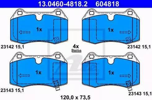 ATE 13.0460-4818.2 - Piduriklotsi komplekt,ketaspidur multiparts.ee