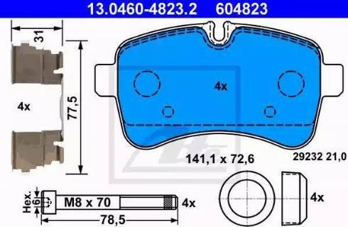 ATE 13.0460-4823.2 - Piduriklotsi komplekt,ketaspidur multiparts.ee