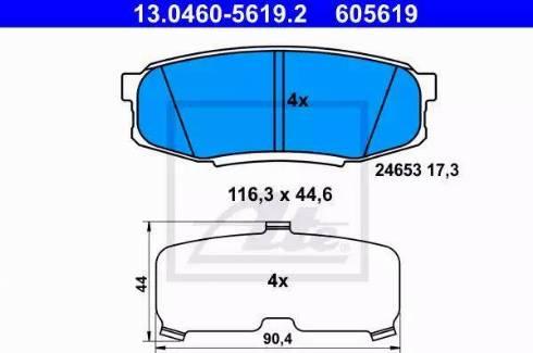 ATE 13.0460-5619.2 - Piduriklotsi komplekt,ketaspidur multiparts.ee