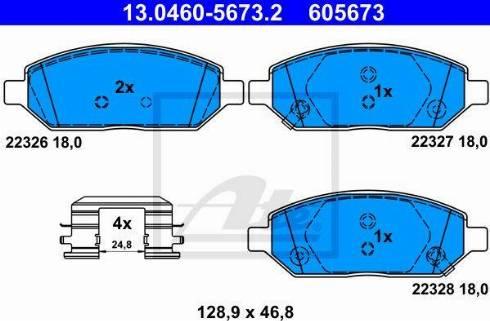 ATE 13.0460-5673.2 - Piduriklotsi komplekt,ketaspidur multiparts.ee