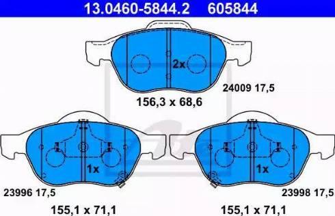ATE 13.0460-5844.2 - Piduriklotsi komplekt,ketaspidur multiparts.ee