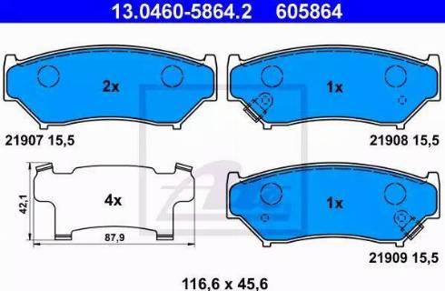 ATE 13.0460-5864.2 - Piduriklotsi komplekt,ketaspidur multiparts.ee