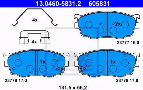 ATE 13.0460-5831.2 - Piduriklotsi komplekt,ketaspidur multiparts.ee