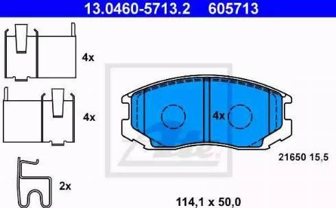 ATE 13.0460-5713.2 - Piduriklotsi komplekt,ketaspidur multiparts.ee