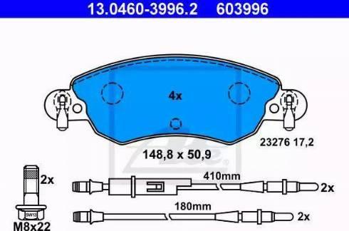 ATE 13.0460-3996.2 - Piduriklotsi komplekt,ketaspidur multiparts.ee
