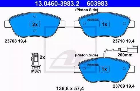 ATE 13.0460-3983.2 - Piduriklotsi komplekt,ketaspidur multiparts.ee