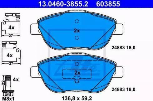 ATE 13.0460-3855.2 - Piduriklotsi komplekt,ketaspidur multiparts.ee