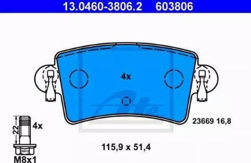 ATE 13.0460-3806.2 - Piduriklotsi komplekt,ketaspidur multiparts.ee
