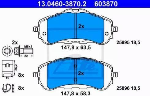 ATE 13.0460-3870.2 - Piduriklotsi komplekt,ketaspidur multiparts.ee