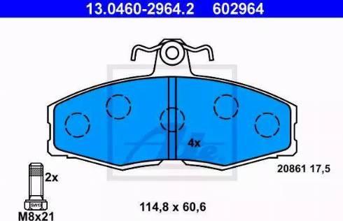 ATE 13.0460-2964.2 - Piduriklotsi komplekt,ketaspidur multiparts.ee