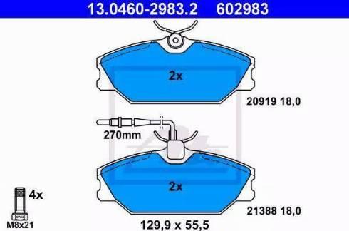 ATE 13.0460-2983.2 - Piduriklotsi komplekt,ketaspidur multiparts.ee