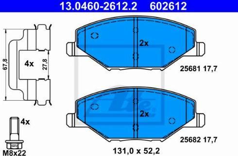 ATE 13.0460-2612.2 - Piduriklotsi komplekt,ketaspidur multiparts.ee