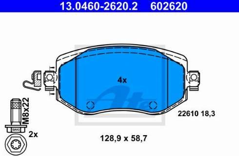ATE 13.0460-2620.2 - Piduriklotsi komplekt,ketaspidur multiparts.ee
