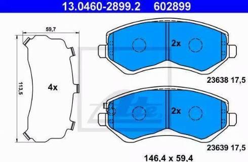 ATE 13.0460-2899.2 - Piduriklotsi komplekt,ketaspidur multiparts.ee