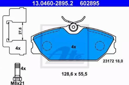 ATE 13.0460-2895.2 - Piduriklotsi komplekt,ketaspidur multiparts.ee