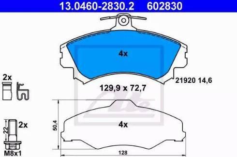 ATE 13.0460-2830.2 - Piduriklotsi komplekt,ketaspidur multiparts.ee
