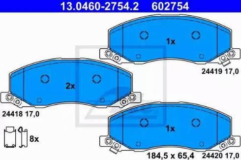 ATE 13.0460-2754.2 - Piduriklotsi komplekt,ketaspidur multiparts.ee