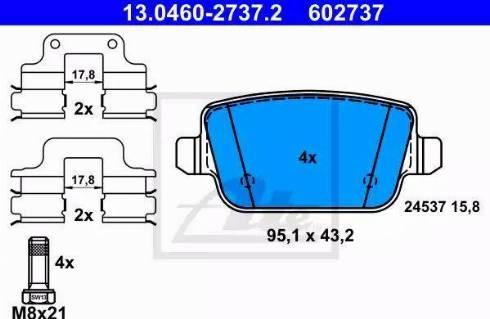 ATE 13.0460-2737.2 - Piduriklotsi komplekt,ketaspidur multiparts.ee