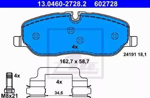ATE 13.0460-2728.2 - Piduriklotsi komplekt,ketaspidur multiparts.ee