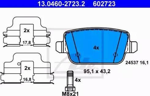 ATE 13.0460-2723.2 - Piduriklotsi komplekt,ketaspidur multiparts.ee