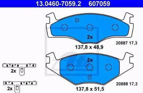 ATE 13.0460-7059.2 - Piduriklotsi komplekt,ketaspidur multiparts.ee