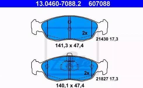 ATE 13.0460-7088.2 - Piduriklotsi komplekt,ketaspidur multiparts.ee