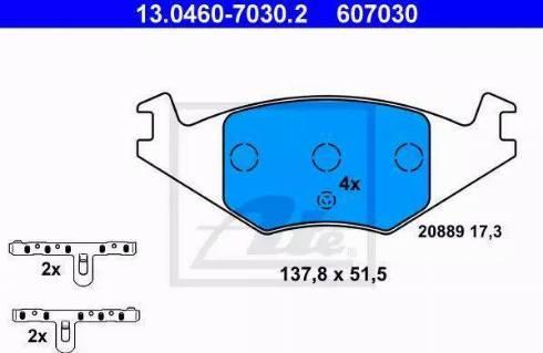 ATE 13.0460-7030.2 - Piduriklotsi komplekt,ketaspidur multiparts.ee