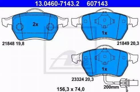 ATE 13.0460-7143.2 - Piduriklotsi komplekt,ketaspidur multiparts.ee