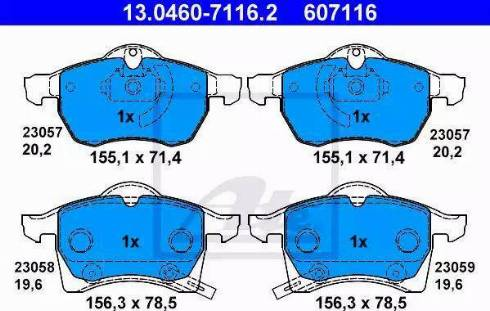 ATE 13.0460-7116.2 - Piduriklotsi komplekt,ketaspidur multiparts.ee