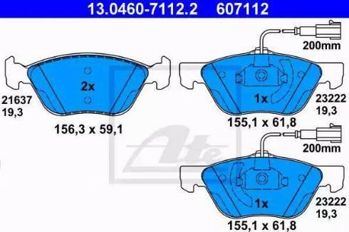 ATE 13.0460-7112.2 - Piduriklotsi komplekt,ketaspidur multiparts.ee