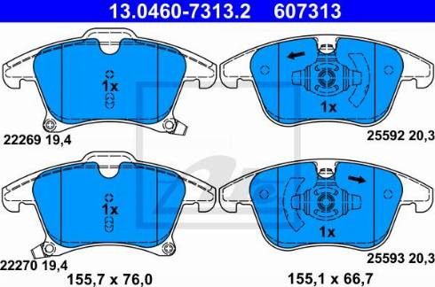 ATE 13.0460-7313.2 - Piduriklotsi komplekt,ketaspidur multiparts.ee