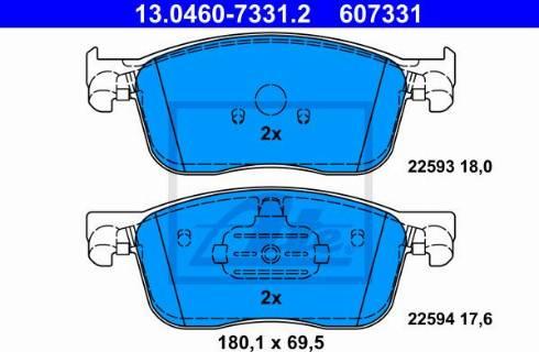 ATE 13.0460-7331.2 - Piduriklotsi komplekt,ketaspidur multiparts.ee