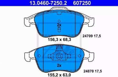 ATE 13.0460-7250.2 - Piduriklotsi komplekt,ketaspidur multiparts.ee