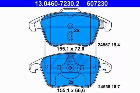 ATE 13.0460-7230.2 - Piduriklotsi komplekt,ketaspidur multiparts.ee