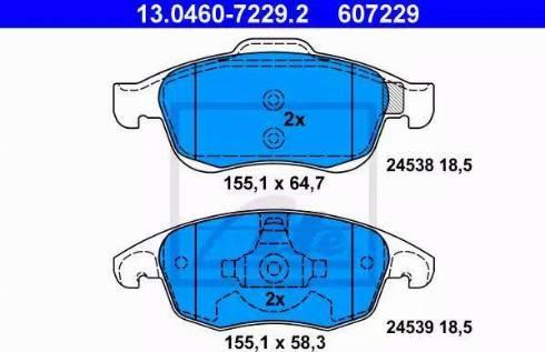 ATE 13.0460-7229.2 - Piduriklotsi komplekt,ketaspidur multiparts.ee