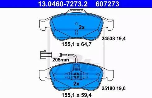 ATE 13.0460-7273.2 - Piduriklotsi komplekt,ketaspidur multiparts.ee