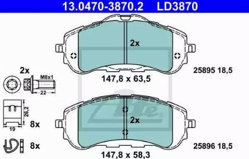ATE 13.0470-3870.2 - Piduriklotsi komplekt,ketaspidur multiparts.ee