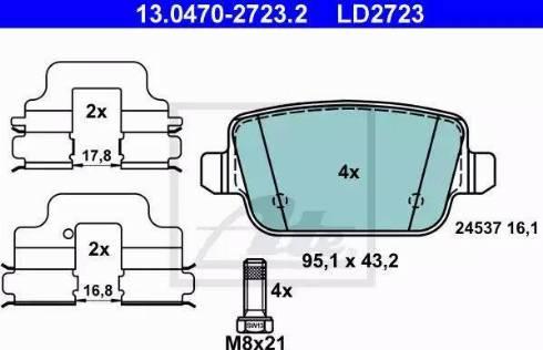 ATE 13.0470-2723.2 - Piduriklotsi komplekt,ketaspidur multiparts.ee