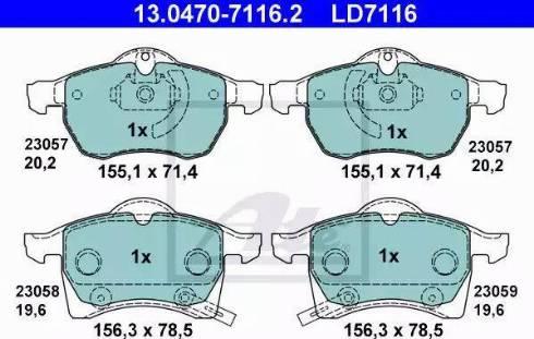 ATE 13.0470-7116.2 - Piduriklotsi komplekt,ketaspidur multiparts.ee