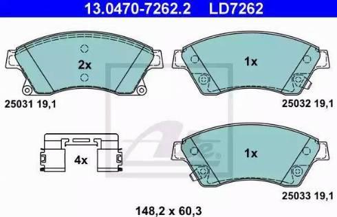 ATE 13.0470-7262.2 - Piduriklotsi komplekt,ketaspidur multiparts.ee