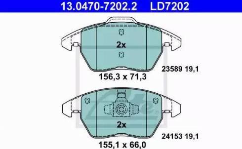 ATE 13.0470-7202.2 - Piduriklotsi komplekt,ketaspidur multiparts.ee