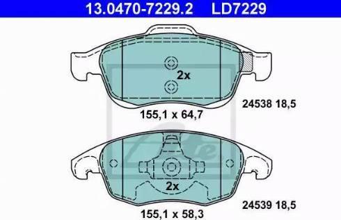 ATE 13.0470-7229.2 - Piduriklotsi komplekt,ketaspidur multiparts.ee