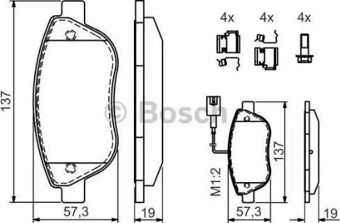 BOSCH 0 986 424 596 - Piduriklotsi komplekt,ketaspidur multiparts.ee