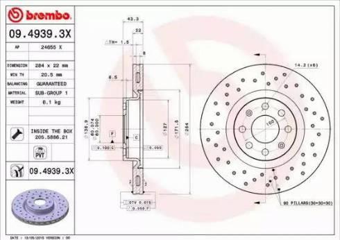 Brembo 09.4939.3X - Piduriketas multiparts.ee