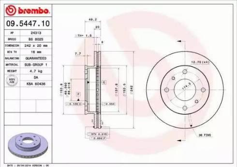 Brembo 09.5447.10 - Piduriketas multiparts.ee