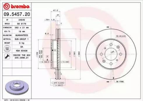 Brembo 09.5457.20 - Piduriketas multiparts.ee