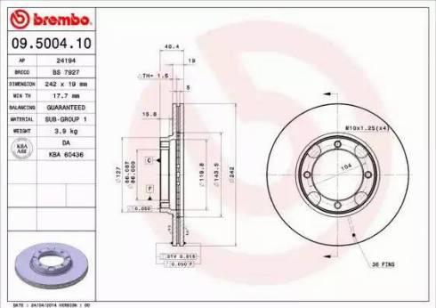Brembo 09.5004.10 - Piduriketas multiparts.ee