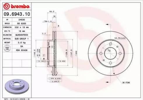 Brembo 09.6943.10 - Piduriketas multiparts.ee