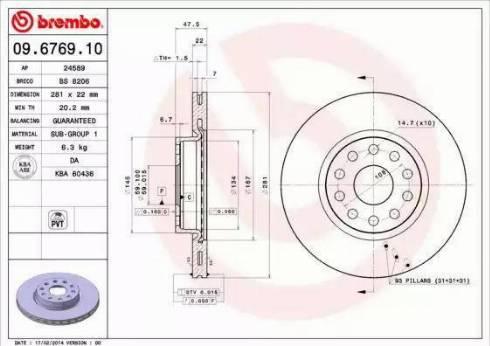 Brembo 09.6769.10 - Piduriketas multiparts.ee